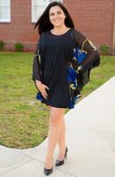 Sheer Bliss Poncho - Blue Floral