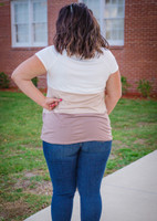 Around The Block Top- Taupe