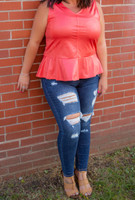 Gift to Yourself Sleeveless Top  - Coral