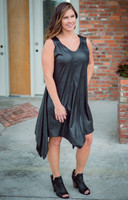 As Good as Gold Sleeveless Dress - Faux Leather Black