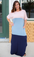 Color Block Maxi- Navy