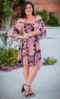 Take Me Away Dress- Fushcia Print