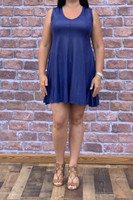 Feel The Beat Dress - Faux Leather Cobalt