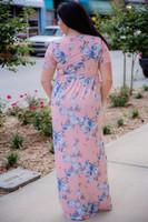 Flattering Floral Maxi Dress - Pink