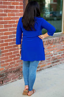 Fitted Pocket Tunic - Cobalt
