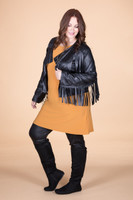 Leader of the Pack Fringed Bolero - Black Faux Leather