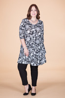 Girl Next Door Tunic - B&W Floral Print