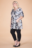 Girl Next Door Tunic - Taupe Magazine Print