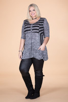 Wonderful Weekender Tunic - Shades of Grey Stripes