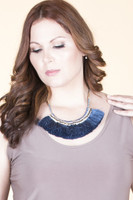 Beaded & Tassel Statement Necklace - Blue