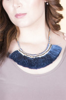Beaded & Tassel Statement Necklace - Blue