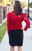 Shakespearean Roses Bolero Jacket - Red