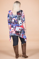 Your Best Foot Forward Tunic - Blue Magazine Print
