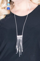 Mini Pendant Chain Lock Tassel Necklace - Silver
