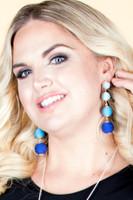 Mixed Tone Dangle Ball Earrings - Blue