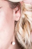 True Hoop Chain Drop Pearl Earrings - Gold