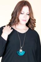 Long Tassel Fan Pendant Antique Chain Necklace - Teal