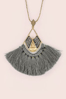 Long Tassel Fan Pendant Antique Chain Necklace ƒ?? Grey