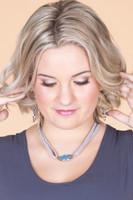 Oval Stone Braided Wrap Bracelet or Choker - Blue/Grey