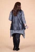 Effortless Open Front Vest - Black Faux Leather