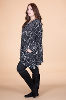 Chevron Shaped Tunic with Pocket - Lightning Print