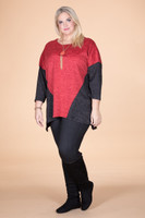 Easy Breezy Drop Shoulder Tunic - Red