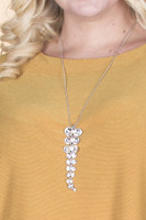 Crystal Layer Pendant Necklace - Silver