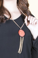 Fringe Chain Stone Pendant Necklace - Coral