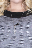 Horn Tassel Pendant Necklace - Black / Silver