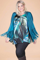 Ready to Take on Anything Fringed Jacket - Petrol