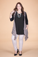 Effortless Open Front Vest - Taupe