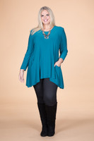 Chevron Shaped Tunic with Pocket - Petrol