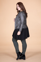 Get the Edge Seamed Moto Jacket - Olive Faux Leather