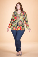 At Your Leisure Side Slit Top - Royal Insignia Print