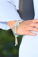 Beads & Suede Layer Drawstring Bracelet - Turquoise