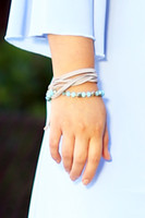 Beads & Suede Layer Drawstring Bracelet - Turquoise
