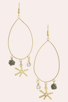 Crystal & Mix Charm Drop Earrings - Gold