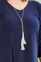 Double Leather Multi Tassel Necklace - Gold/Grey