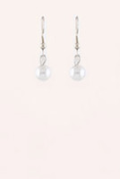Mini Pearl Drop Earrings - Rhodium