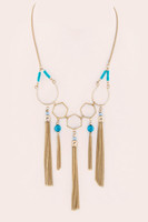 Iconic Beaded Multi Tassel Statement Necklace - Turquoise