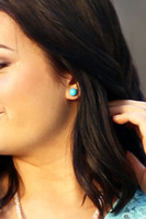 Large Bead Stud Earrings - Turquoise