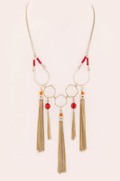 Iconic Beaded Multi Tassel Statement Necklace - Coral