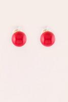 Large Bead Stud Earrings - Coral