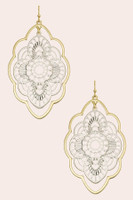 2 Tone Metal Laser Cut Flower Earrings - Gold/Silver