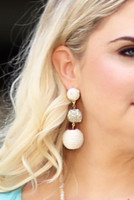 Mix Media Ball Drop Earrings - Ivory