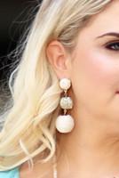 Mix Media Ball Drop Earrings - Ivory