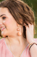 Mix Media Ball Drop Earrings  - Peach
