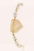Semi Precious Shield Charm Stone Drawstring Bracelet - Peach