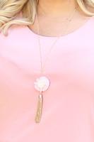 String Flower & Tassel Pendant Necklace - Light Pink