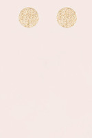 Textured Metal Circle Earrings -  Gold